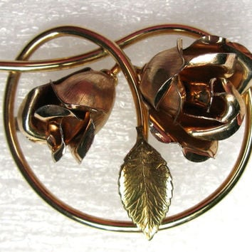 Krementz Signed Brooch Vintage Gold Filled Metal Roses One Leaf Estate Jewelry GF Pin
