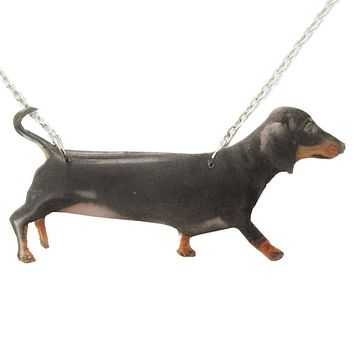 Realistic Dachshund Puppy Dog Shaped Pet Portrait Pendant Necklace | Handmade