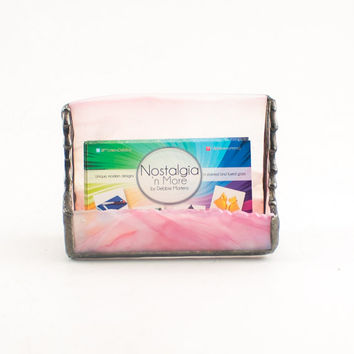 Business Card Holder for Women, Pink Desk Accessories, Desktop Card Display, Cubicle Decor, Stained Glass, Unique Gifts for Business Women