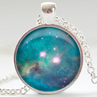 Nebula Necklace, Space Galaxy Art Pendant,  Nebula Jewelry, Universe Stars Gift for Him or for Her (309)