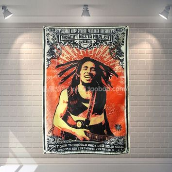 """""""BOB MARLEY"""" 56X36 inches large banner retro rock band logo poster cloth painting Bar Cafes hostel home decor"""