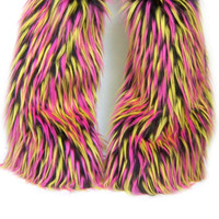 Tropic Punch Confetti Legwarmers, Pink and Yellow Monster Legwarmers, Pink and Yellow Furry Leg Warmers