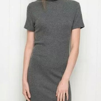 Turtleneck Short Sleeve Pull Over Sheath Dress