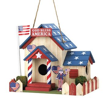 Set of 2 God Bless America Birdhouses