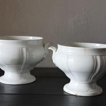 TWO Shabby Chic French Antique Tea Stained Bowls Vieillard Bordeaux Earthenware Ironstone 1800s