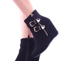 BLACK FAUX SUEDE ANKLE BOOTIES 2 BUCKLE ACCENTS