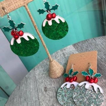 Christmas Ornament Faux zLeather Earrings with Holly Berries