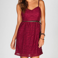 Full Tilt Belted Crochet Dress Burgundy  In Sizes