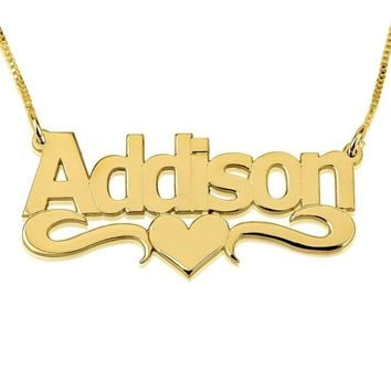 Heart Print Name Necklace