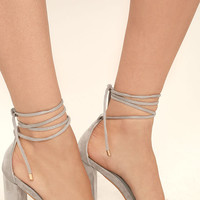 Maricela Grey Suede Lace-Up Heels