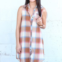 Southern Summer Plaid Button Down Dress {Taupe Mix}