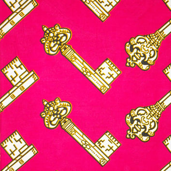 Hot pink African Fabric by the yard  for African clothing African skirt  dress Ankara fabric Kitenge fabric African wax print fabric keys