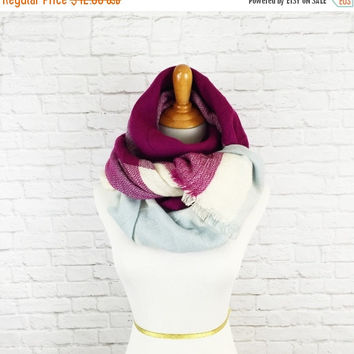 XMAS SALE Blanket Scarf Plaid Serenity Pantone Plum Tartan Extra Large Square Fabric Wrap Shawl Zara Inspired // READY To Ship!