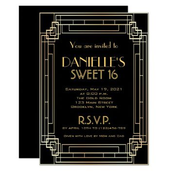 Great Gatsby Inspired Art Deco Sweet 16 Invitation