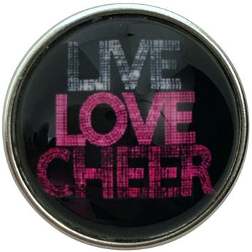Live Love Cheer Snap Charm 20mm