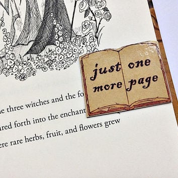 Just One More Page Magnetic Bookmark: open book back to back bookmark with magnet