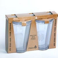 WaterU 2-Pack Double Wall To Go Cup with Straw and Lid, 16-Ounce