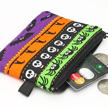 Little coin purse, zipper pouch, gift for kids, card case with zipper - Halloween bats, spiders, skulls, witches, ghosts, pumpkin, bats