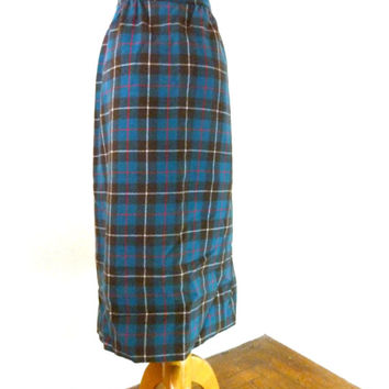 Vintage Pendleton Skirt / Blue Plaid Wool Skirt / A Line Skirt / Tartan Plaid Pencil Skirt M