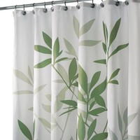 InterDesign Leaves Fabric Shower Curtain, Green/White