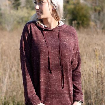 Heathered Burgundy French Terry Hoody