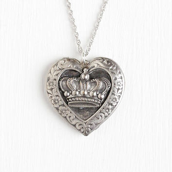Vintage Silver Plated Repousse Crown & Flower Motif Locket Necklace - 1940s Heart Royal Queen Pendant Jewelry on 18 Inch Sterling Chain
