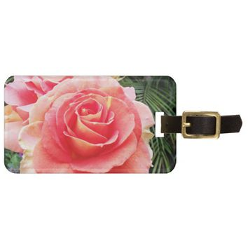 Soft, bright pink rose close-up photo luggage tag