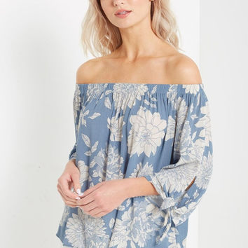 Blue Dakota Floral Off the Shoulder Top