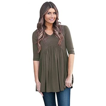 Army Green 3/4 Sleeve Babydoll Tops