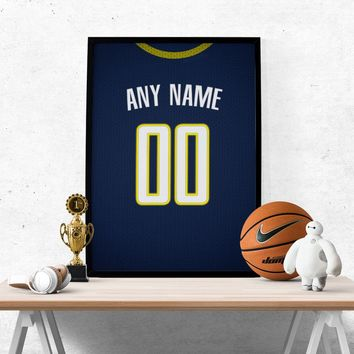 Indiana Pacers Jersey Poster - Print Personalized Select ANY Name & ANY Number