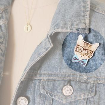 Hipster Cat Brooch : Four Eyed Tabby Cat with Oversized Glasses and Blue Bow Tie, Pin,
