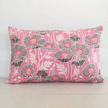 Pink & grey poppy with grey linen cushion cover - floral designer lumbar cushion - FREE SHIPPING Australia wide