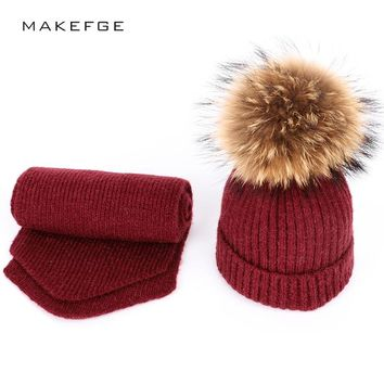 New fashion knit children's solid winter cotton caps Scarf, Hat & Glove Sets warm and comfortable mask ski hats for girl pompoms