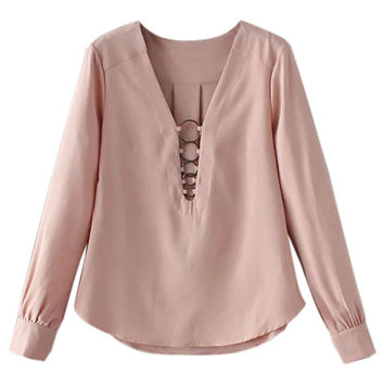 Pink Cut-Out Long Sleeve Blouse