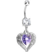 Handcrafted CZ Violaceous Winged Heart Dangle Belly Ring | Body Candy Body Jewelry