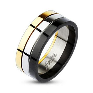 Grooved Tri Color IP Band Ring 316L Stainless Steel
