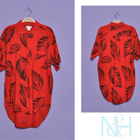 Vintage 1980s Red and Black Tropical Button-up with Chest Pocket