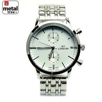 Jewelry Kay style Men's Silver Plated Fashion Analog Stainless Steel Metal Band Watch 9456 S