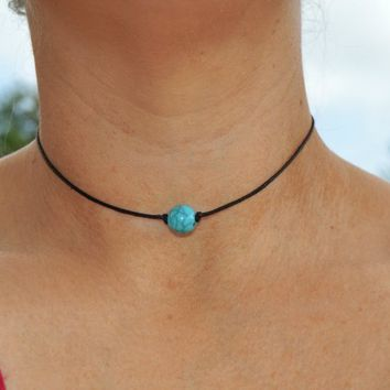 Boho Single Turquoise Bead and Leather Choker Necklace, Turquoise Bead Choker, Black Leather Choker, Simple Choker, 90's Grunge Choker