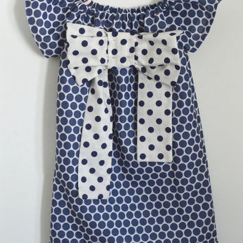 Big Bow Madeline French Peasant Dress Blue and White Polka Dots, Size 4T or Custom