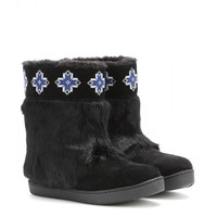 tory burch - lafayette embroidered suede boots with fur