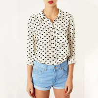 White Heart Pattern Cuffed Sleeve Collared Chiffon Blouse