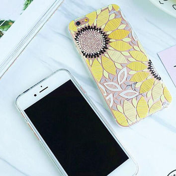 Fashion Yellow Sunflower iPhone Case For iPhone 6 6s 6plus 6splus 7 7plus +Gift Box