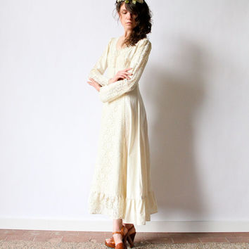 70s Boho Wedding Dress Hippie Medieval Renaissance Bridal gown midi maxi length natural ivory cotton muslin corset lace ruffle peasant frock