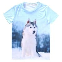 Adorable Husky Puppy Dog Graphic Print T-Shirt in Blue | Gifts for Dog Lovers