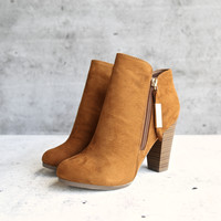 almond toe stacked heel vegan suede booties - tan