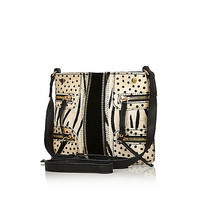River Island Womens Black leather animal cross body bag