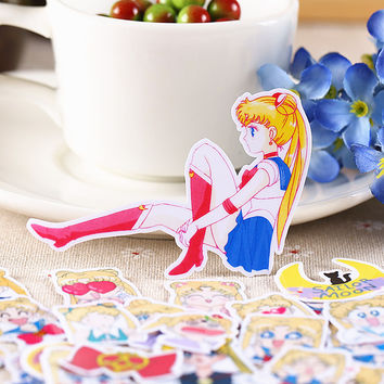 36pcs Self-made Japanese Cartoon Girl Scrapbooking Stickers DIY Craft DIY Sticker Pakc Photo Albums Deco Diary Deco