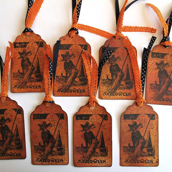 Halloween Cat Tags, Set of 8 Gift Tags, Vintage Image, Black Cat with Broom and Witch Hat, Orange and Black, Handmade Party Favors