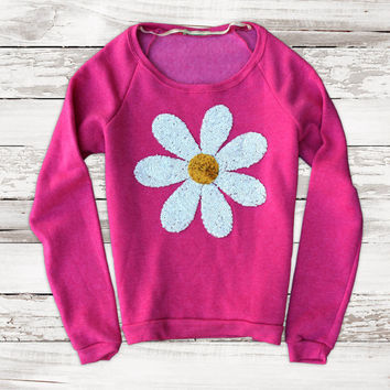 Sequin Daisy Patch Boat Neck Sweatshirt Jumper